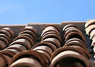 Adobe roofing tiles were fired in a kiln to become strong and waterproof.