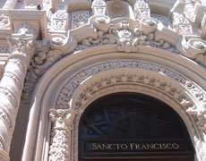 Ornate carving on the entry to the mission basilica.