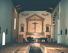 The interior of the mission church.