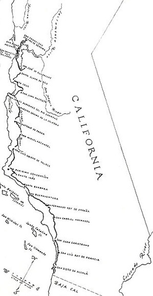 Map showing the route of El Camino Real in 1820 (the map was produced in 1920) Walk the California Mission Trail