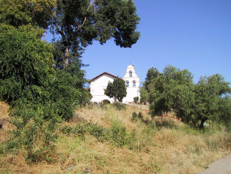 The mission as seen from the dirt trail used by the Padres... the original route of El Camino Real.