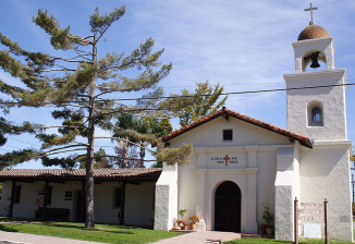 Mission Santa Cruz church: a 1/3 scale reconstruction of the original.